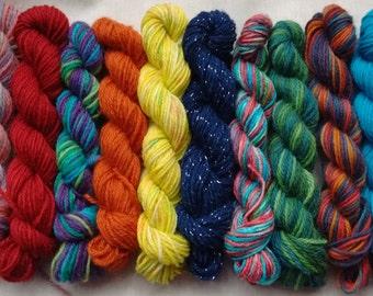 10x Random mix 4ply, sock yarn mini skeins, yarn babies, 20-25yds, 18-23m per skein, free postage in UK