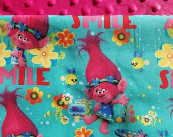 Personalized Trolls Blanket, Trolls Blanket, Minky Blanket, Girls Bedding, Dream-Works Trolls Bedding, Dream-Works Trolls
