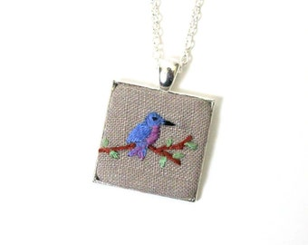 Hand embroidered bird necklace, blue bird pendant, OOAK jewelry, mother's day gift, gift for women