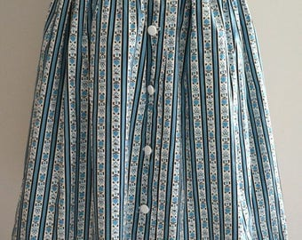 Vintage 50s teal cotton pattern print circle skirt small