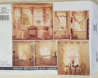 Craft Pattern, Vogue 1596, Curtains, Valance, Parson's Chair Cover, Pillow, Sewing Pattern, UNCUT