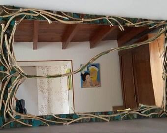 Miroir bois flotté et verre de mer