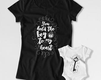 Mommy And Me Clothing Mom And Son Matching T Shirts Mother Daughter Shirts Mom And Baby Gifts The Key To My Heart Bodysuit FAT-814-815