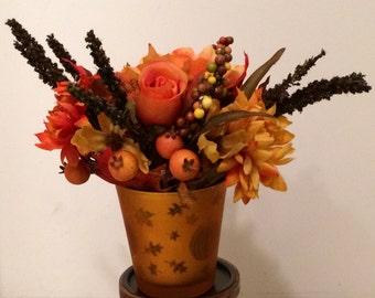 Fall Silk Flower Centerpiece, Autumn Silk Flower Centerpiece, Thanksgiving SIlk Flowers, Autumn Flower Arrangement, Fall Flower Arrangement
