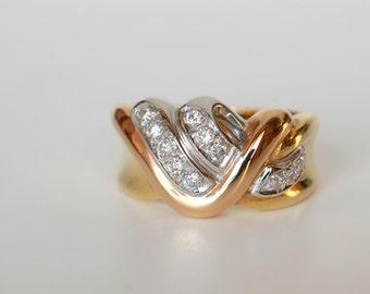 Red, white and yellow gold ring 750 (18 k) with 0.24 carat Diamonds-Diamond Range-handmade-Classic