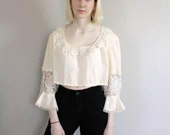 Vintage 70s Cream with Crochet Detail and Bell/Flared Sleeves Cropped Peasant Blouse/Top - Free Size