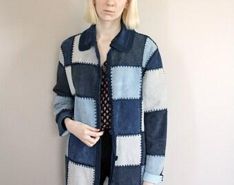 Vintage Blue Suede Patchwork Crochet Jacket/Cardigan - Medium