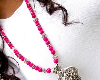 Fuchsia Necklace Earring Set, Silver Lotus Necklace , Long Thread Necklace, Pink Statement Necklace, Indian Ethnic Necklace, Silver Jewelry.