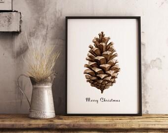 MERRY CHRISTMAS PINECONE_ Christmas Watercolor Art Pinecone Illustration, Wall Art, Home decor for Winter Season, Printable Art