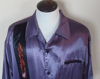 Mens Vintage Purple Satin Bowling Style Shirt Rayon Acetate