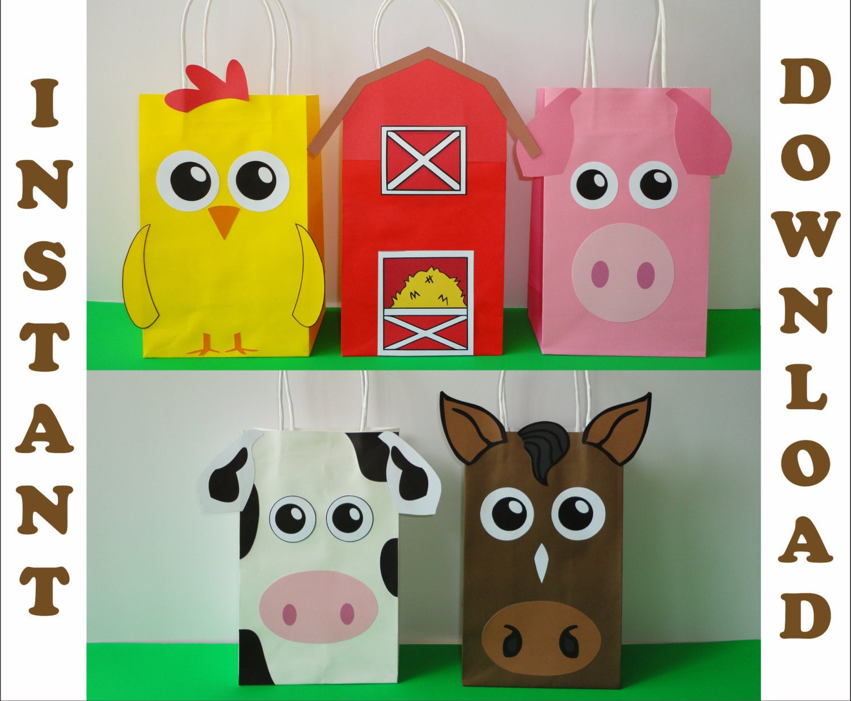 Barnyard/ Farm/ Barn Animals Party Favor bags/ DIY Birthday
