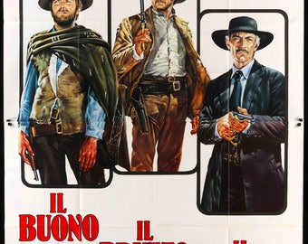 "Good, the Bad and the Ugly (1966) R70s Italian 4-Fogli Movie Poster - 55"" x 78"""