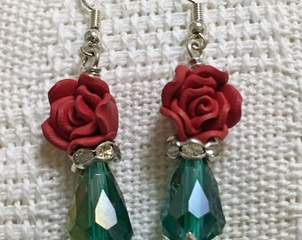 Red Rose  & Teal Earrings / Teal and Red / Women's Fashion / Valentine's Day / Crystal Earrings / Dangle Earring / Earrings / Jewelry