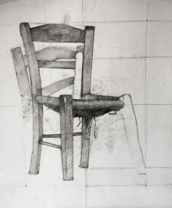 Old wooden Chair Still life Pencil Sketch Study Original