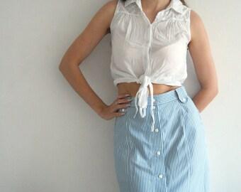 Vintage 70s Blue Striped Skirt UK 10/12
