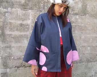 Kimono Sleeve Oversize Printed Denim Pink Box Jacket