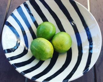 Black and white ceramic bowl, hand painted with graphic bent stripes, fruit bowl or serving bowl