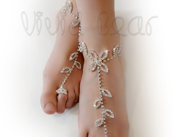 Rhinestone Barefoot Sandals. Sparkling Foot Jewelry. Clear Crystals. Silver Slave Anklets. Beach Wedding. Festival Body jewelry. 2 pcs.