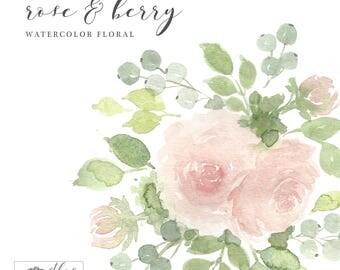 Digital Watercolor Floral Clipart | Arrangement | Roses & Berries | Instant Download