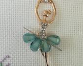 Elegant Gold Plated Ballet Dancer Needleminder with blue green glitter dress / Dancer Needleminder / Ballet Needleminder