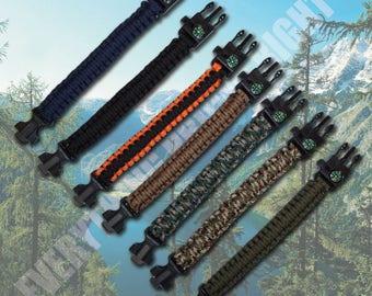 Paracord Survival Bracelet Compass/Flint Fire Starter/Whistle Rope Cutter