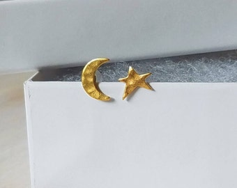 Gold moon and star stud earrings, celestial earrings, star stud earrings, moon stud earrings
