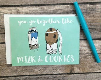 wedding card - engagement card - milk and cookies card - cute couple card - great couple card - you go together cad - blank greeting card