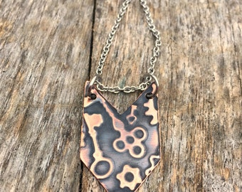 Chevron Necklace, Copper Metal, Steampunk Jewelry, Boho, Bohemian, Rustic style, Everyday, Industrial Arrows, Summer,Geometric,Skeleton Keys