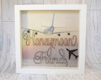 Honeymoon Fund Box, Engagement Present, Honeymoon Money Box Frame, Honeymoon Fund, Money Box Frame, Honeymoon Money Frame