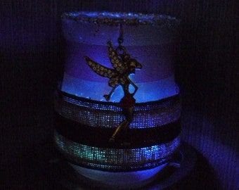 Fairy jar. Handmade lantern, Tinkerbell fairy jar lantern, candle holder, LED night light, desk tidy, makeup brush holder, fairy light.