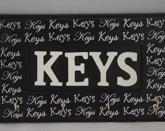 Key Hooks Key Shaped Heart Wooden Key Rack Black  F1277black
