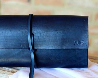 Leather clutch MINI ROYAL BLUE