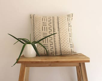 Traditional African Mud Cloth Pillow White and Black Cover 18 x 18