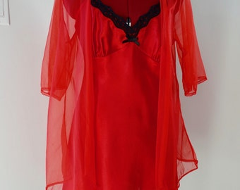 60s Red Sheer Boudoir Duster Sexy Short See Through Transparent Robe Lingerie Retro Vintage Womens Size Small Medium S M