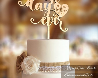 Best Day Ever Wedding Cake Topper. Wedding Cake Topper.  FN30.  Mr Mrs and Custom Surname engraved. Rustic Wedding Cake Topper.