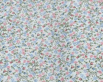 Flowers on Blue Cotton Fabric