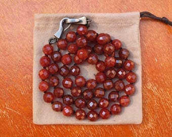 BOTTEGA VENETA NECKLACE · Facetted Red Carnelian · 925 Sterling Silver · Chunky Necklace · Intrecciato