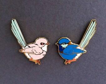 Splendid Fairywren Male and Female Hard Enamel Pin - Pink White Blue and Gold - Lapel Pin Cloisonné Badge
