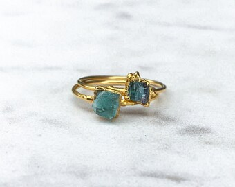 Emerald Ring, Stacking Ring, Raw Crystal Ring, May Birthstone Ring, Boho Ring, Gold Ring, Stone Ring, Gemstone Ring, Minimalist Ring