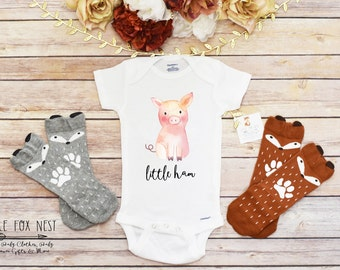 Baby Shower Gift, Funny Onesie®, Funny Baby Gift, Pig Onesie®, Baby Onesie®, Pig Shirt, Cute Pig Onesie®, Baby Girl Clothes, Little Ham