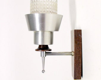 Vintage Wall lamp-glass, aluminium and wood-Retro lighting-Lamp