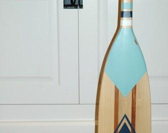 Hand Painted Decorative Canoe Paddle Oar Wall Art - The Blue Whale - wood canoe paddle, nautical, decor, rustic, lake, decor, wall hanging
