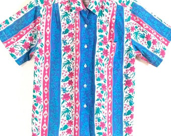 Vintage 80s 90s Southwestern Floral Women's Button Short Sleeve Shirt Size Small