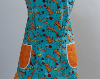 Vintage Style Apron-Cat's Meow Theme with Orange Accent-Full Coverage-Figure Flattering Design-Bottom Ruffle-Lined Pockets-White Trim