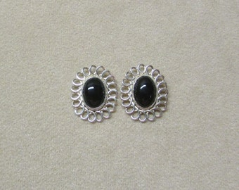 Black Onyx STERLING silver post earrings with a loop wire design.