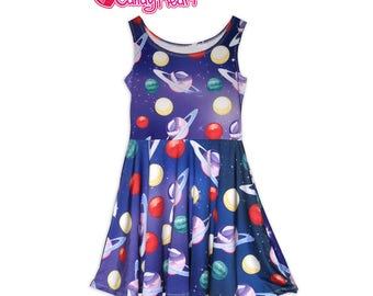 Planets Dress Planet Print Dress Galaxy Dress Space Outer space Universe Uchuu Kei Print Skater Dress In Stock & MTO Sz Xs-5XL