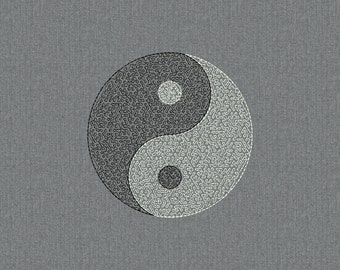 Yin Yang ease embroidery - Machine embroidery design, embroidery stitches - 2 sizes for instant download
