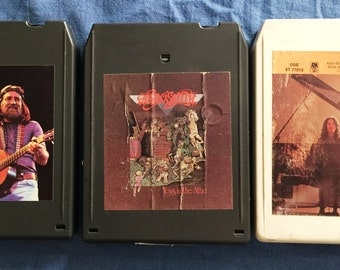 3 Vintage Eight Track Tapes, Aerosmith, Willie Nelson, Carole King 8 Track Audio Tapes
