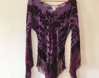 Velvet Cutout Purple Fringe Top