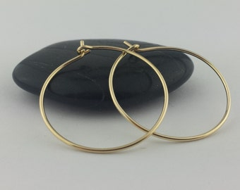 "5/8"" to 3"" Solid 18k Gold Hoop Earrings, 20 Gauge, Solid Gold Hoops, 18k Gold Hoop Earrings, Hammered Gold Earrings, Round Hoops"